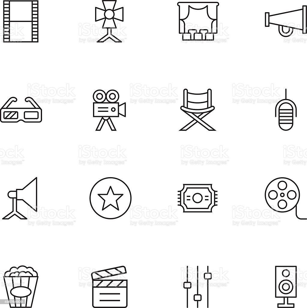 Film Industry Icons - Light vector art illustration
