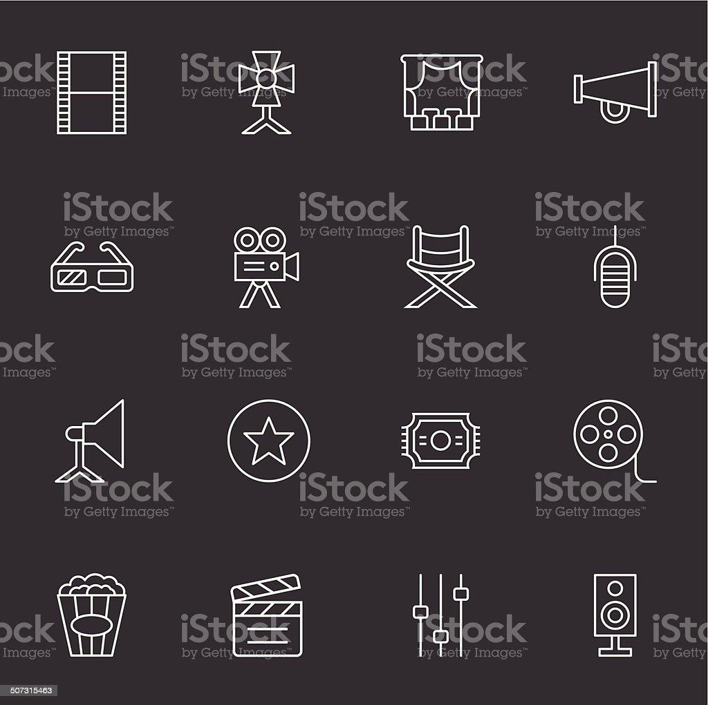 Film Industry Icons - Light White vector art illustration