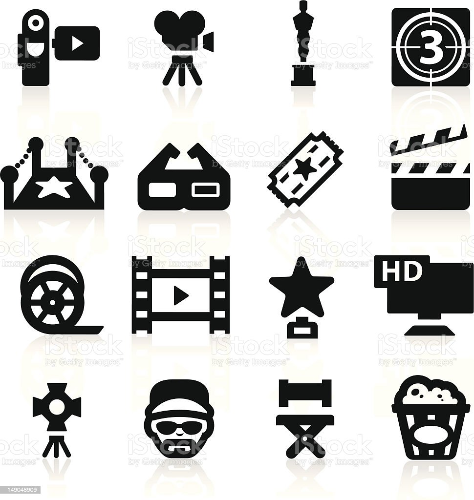 Film industry icons set Elegant series vector art illustration