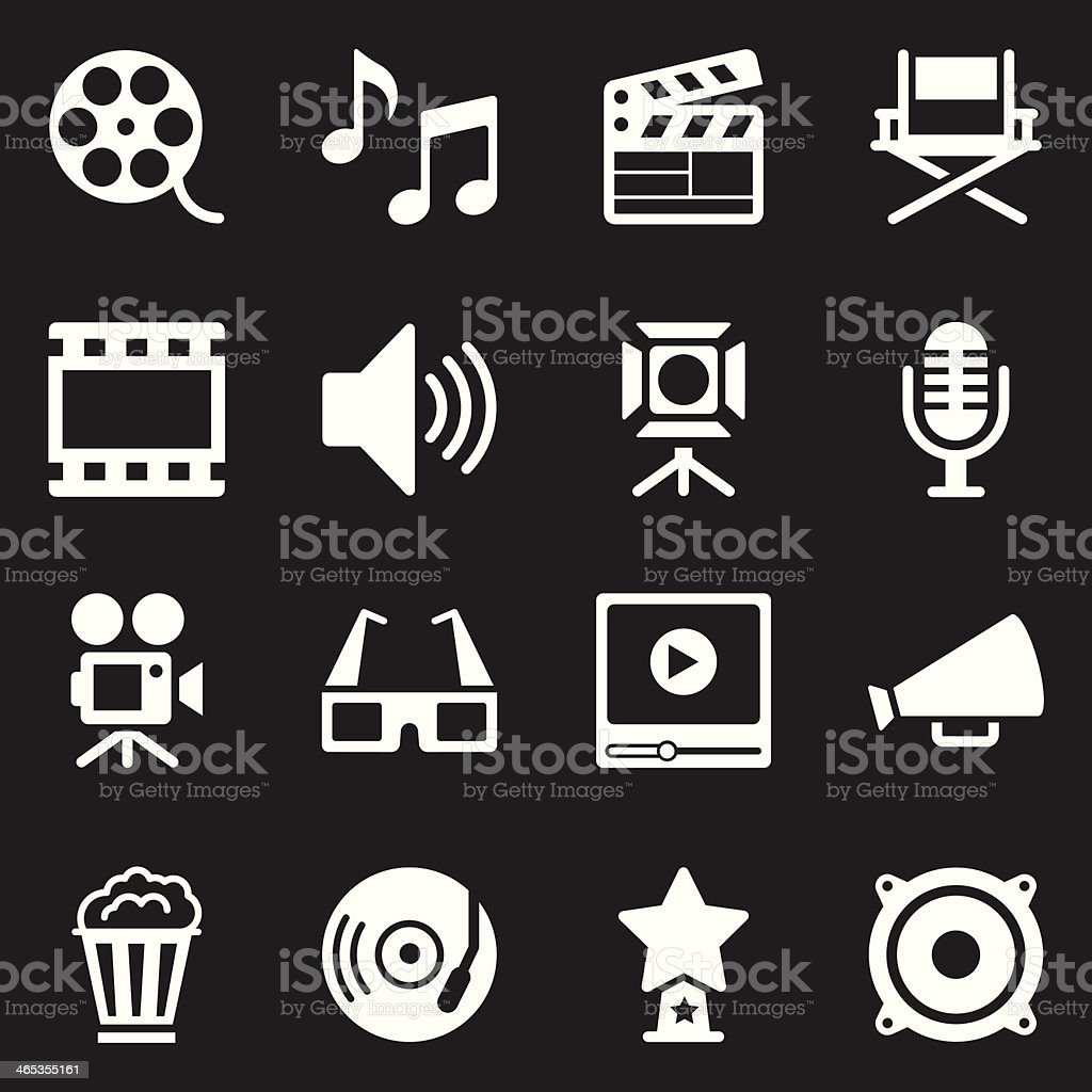 Film Industry Icons | White Series vector art illustration