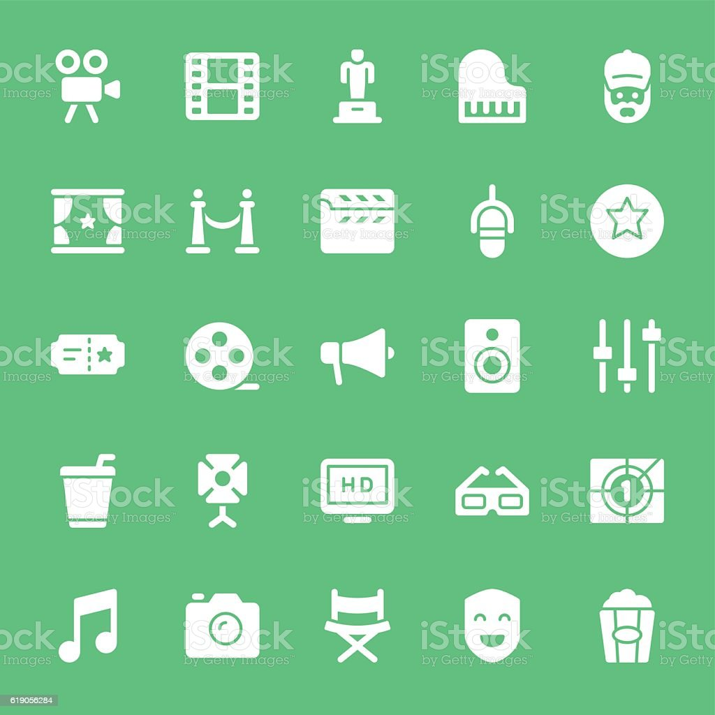 Film Industry icons  - White vector art illustration