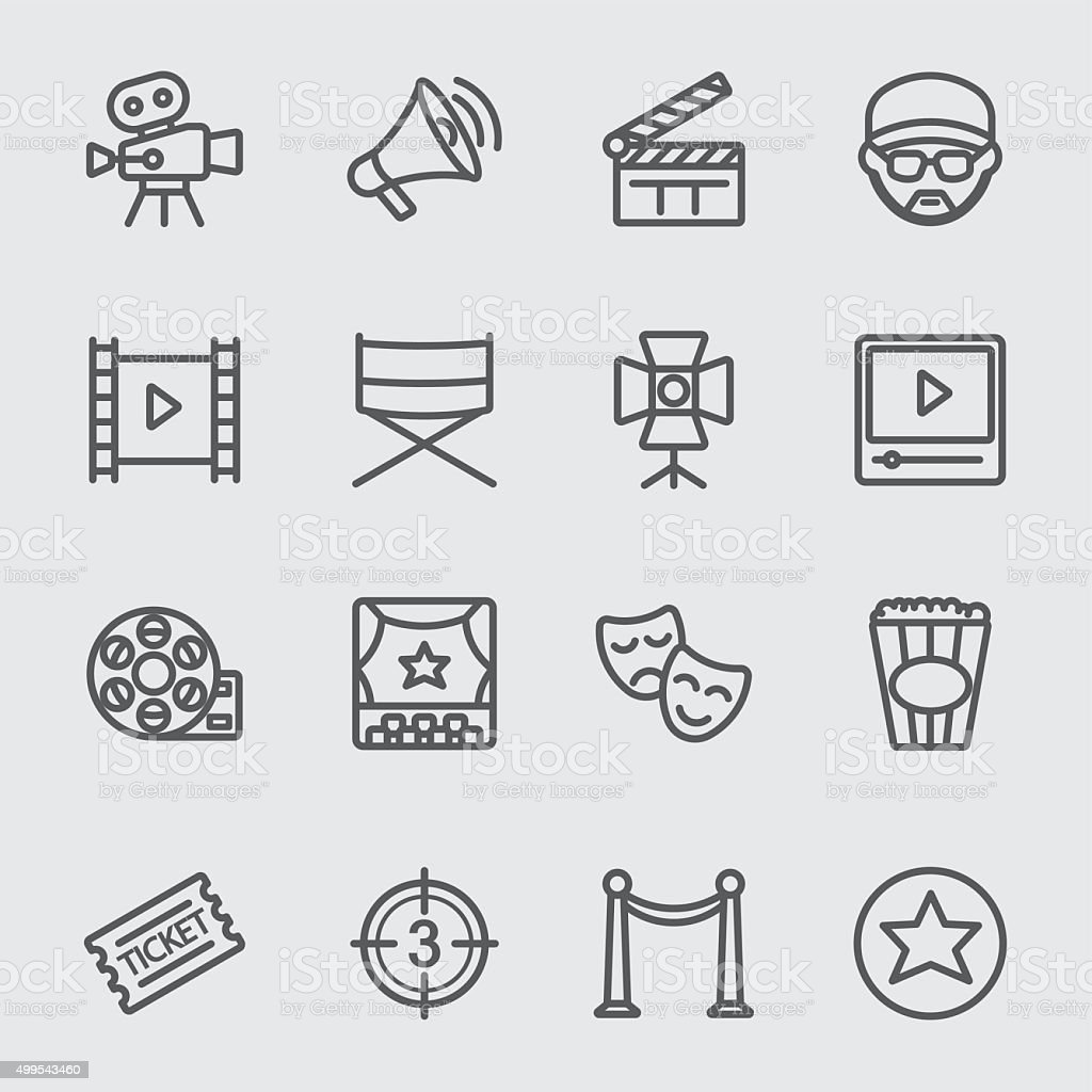 Film industry line icon vector art illustration