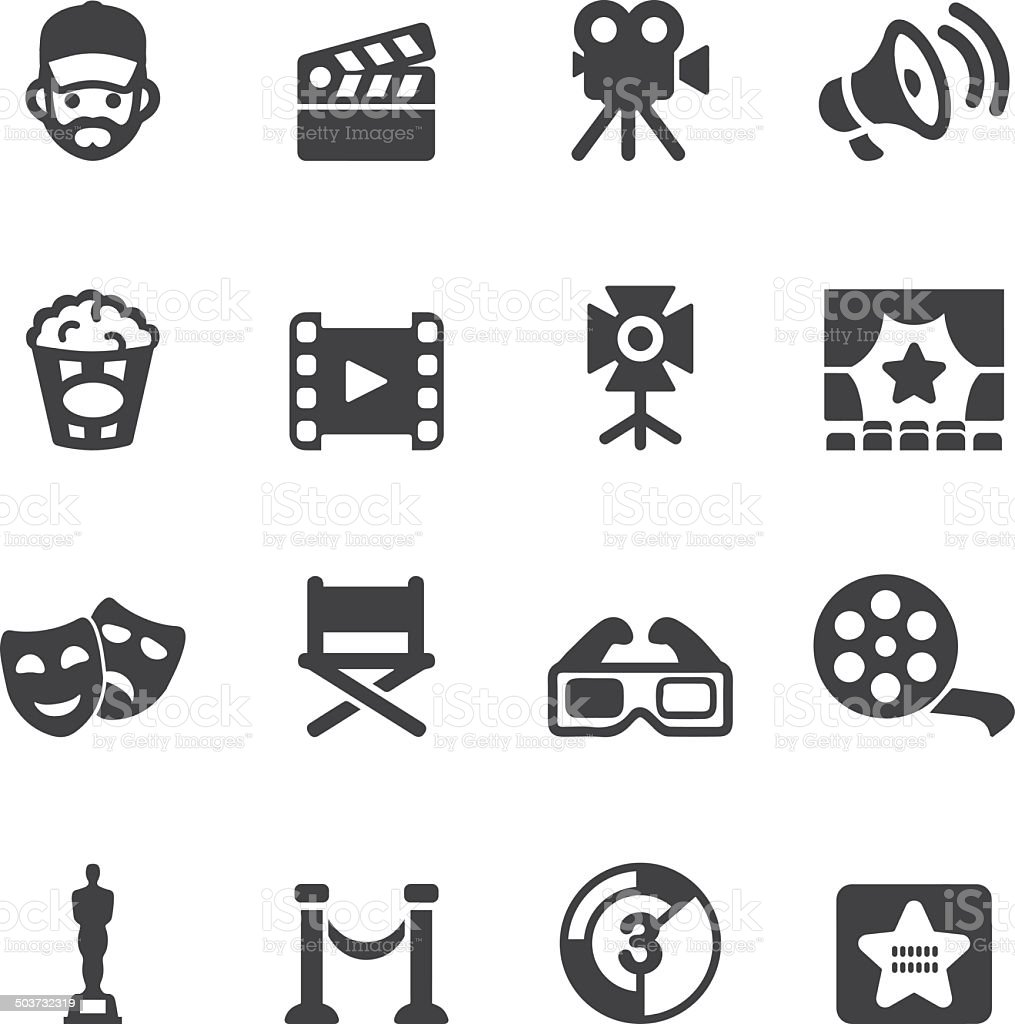 Film industry Silhouette icons | EPS10 vector art illustration