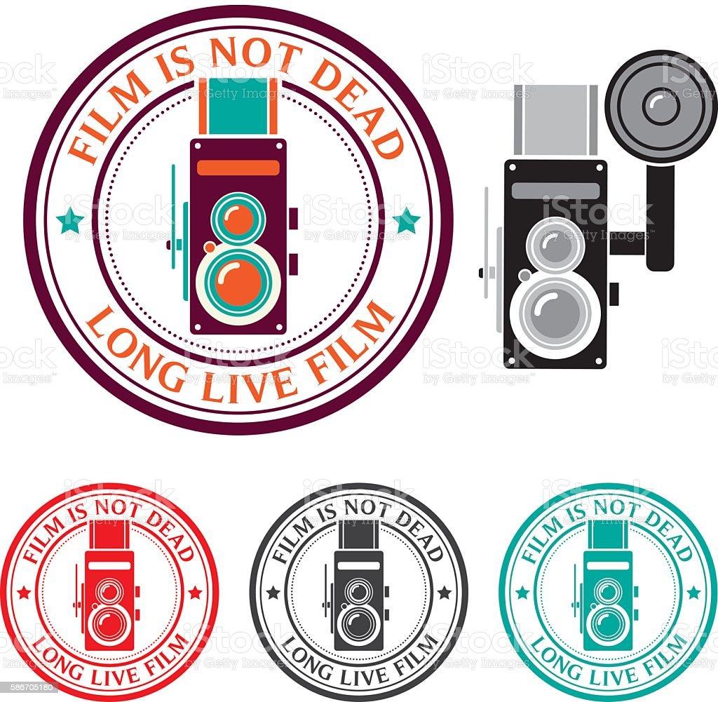 Film is not dead badge vector art illustration