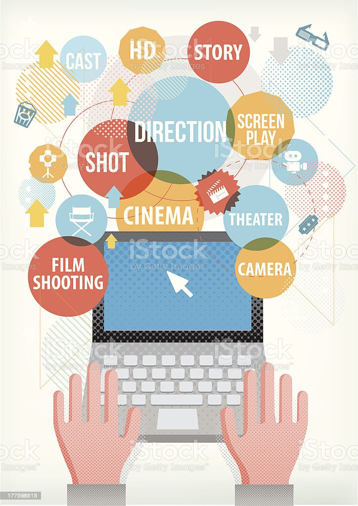 Film making terms on laptop royalty-free stock vector art