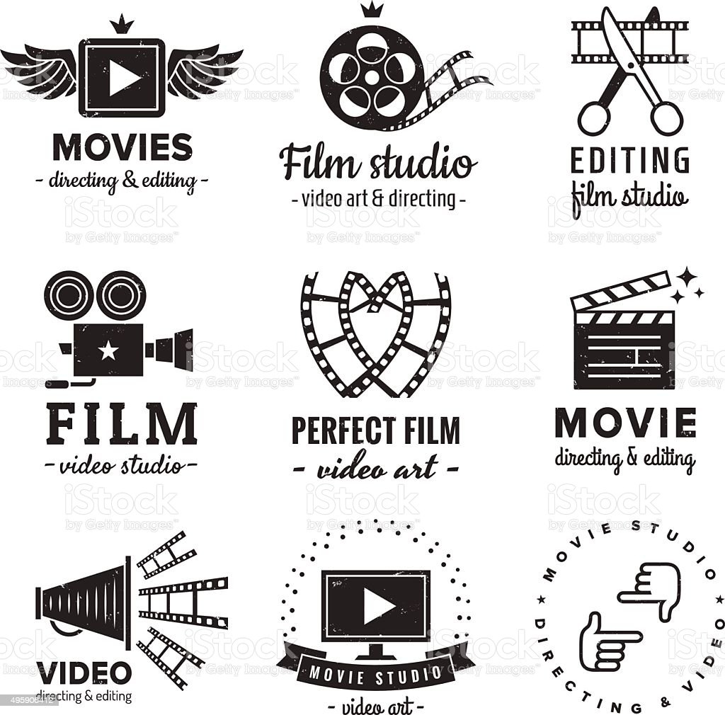 Film, movie and video logo vintage vector set. Hipster style. vector art illustration