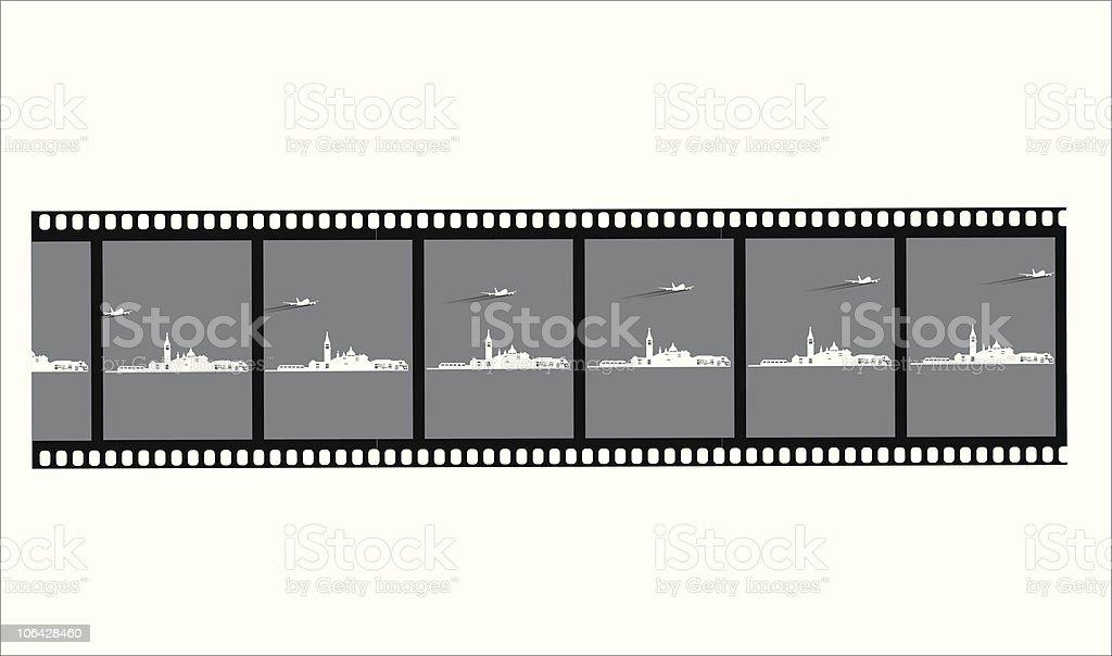 FIlm negative of venice vector art illustration