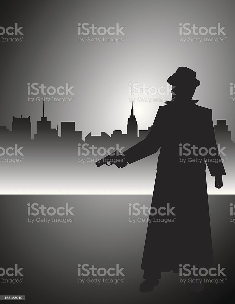 Film Noir Detective Gunman vector art illustration