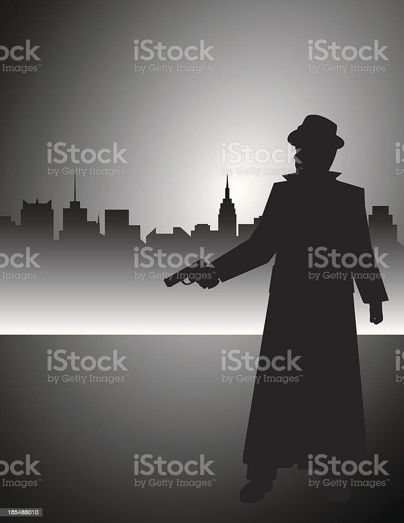 Film Noir Detective Gunman vector art illustration