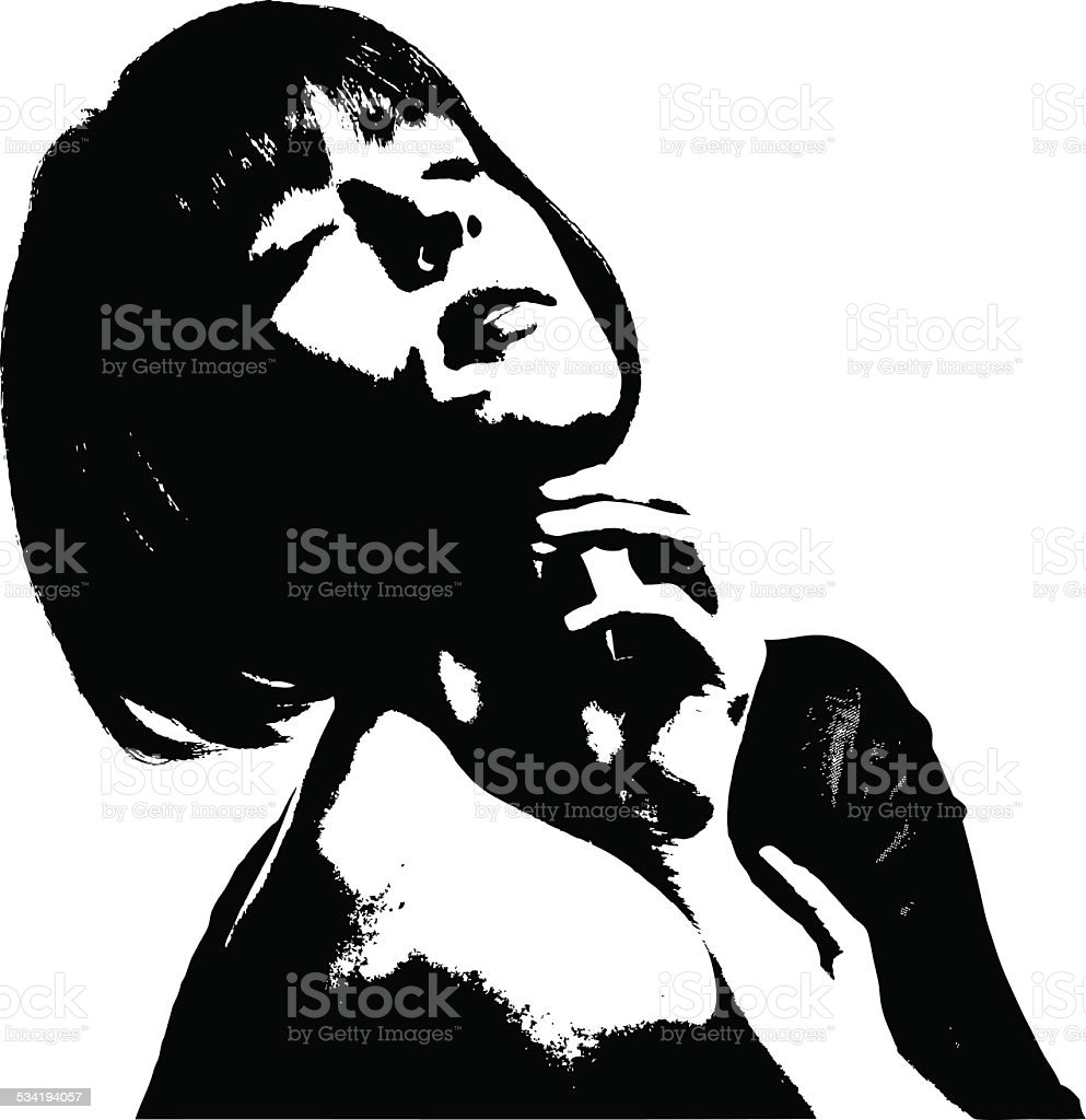 Film Noir Portrait Of Sensuous Woman vector art illustration