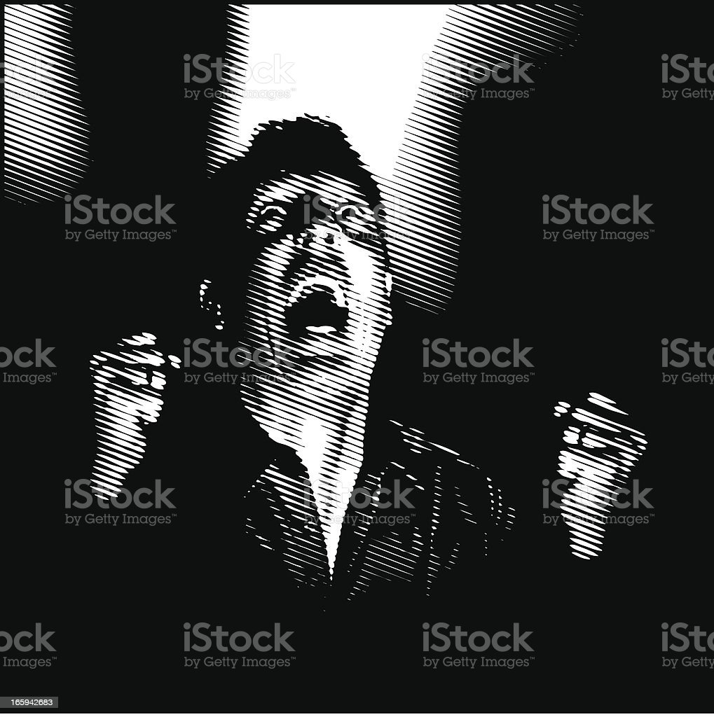 Film Noir Style Scream vector art illustration