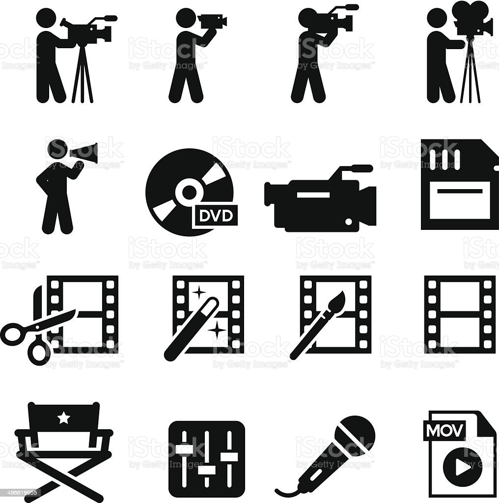 Film Production Icons - Black Series vector art illustration