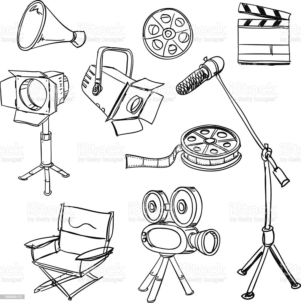 Film recoding equipment in black and white royalty-free stock vector art