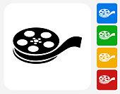 Film Reel Icon Flat Graphic Design