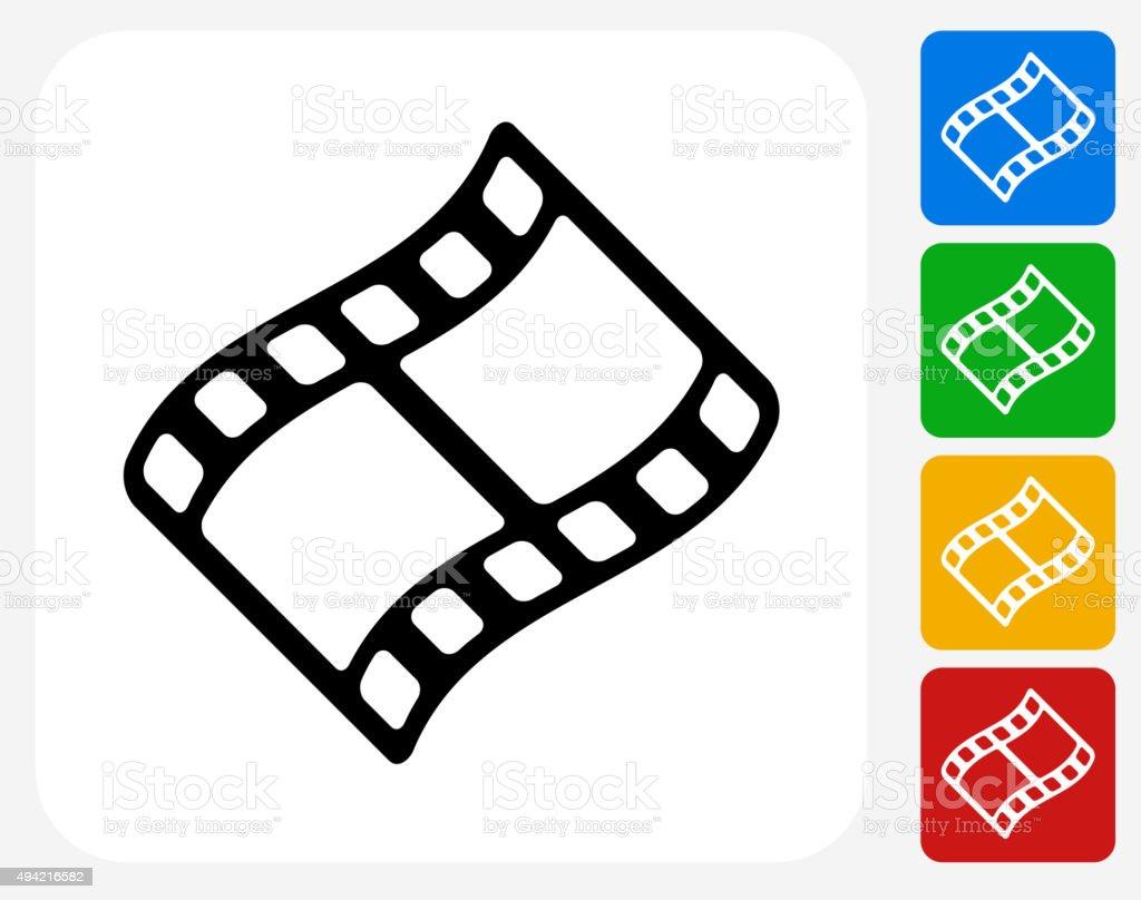 Film Reel Icon Flat Graphic Design vector art illustration
