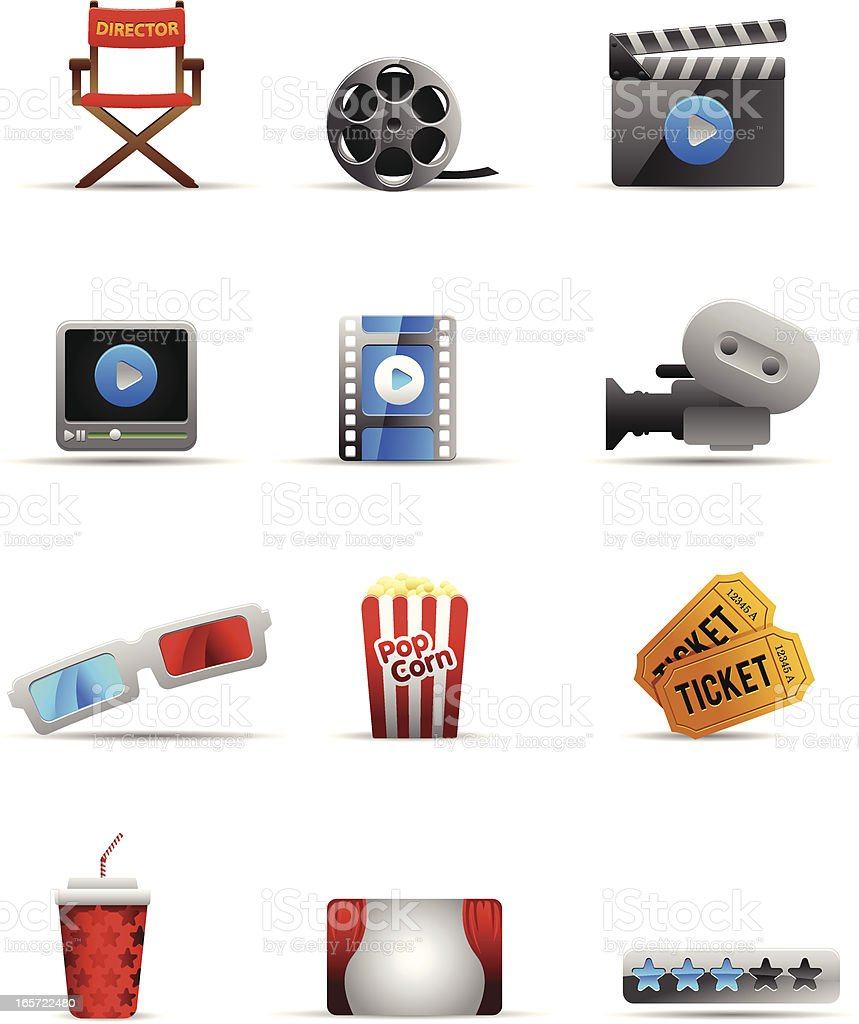 Film related icon set vector art illustration