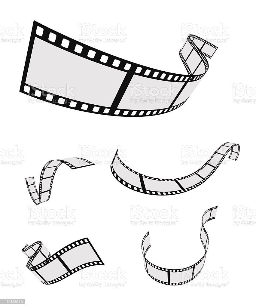 film roll strip tape curled set vector art illustration