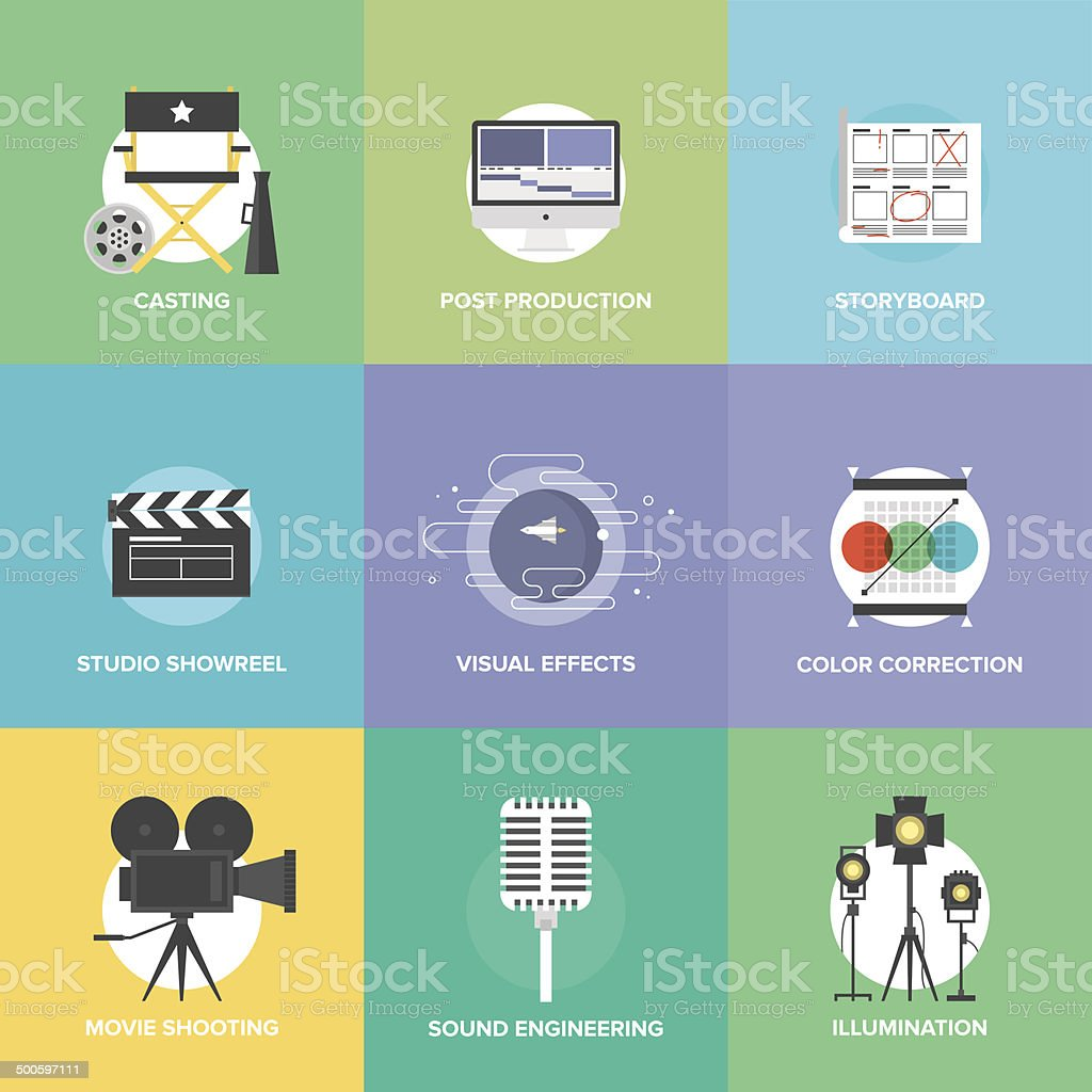 Film shooting and production flat icons set vector art illustration