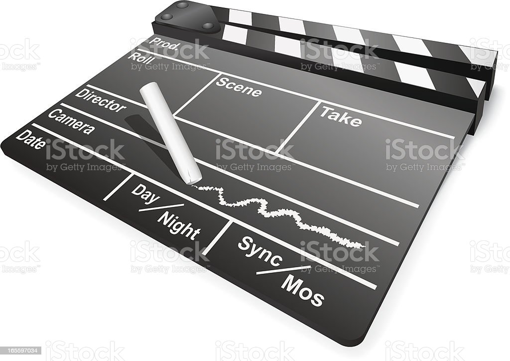 Film Slate with Chalk royalty-free stock vector art
