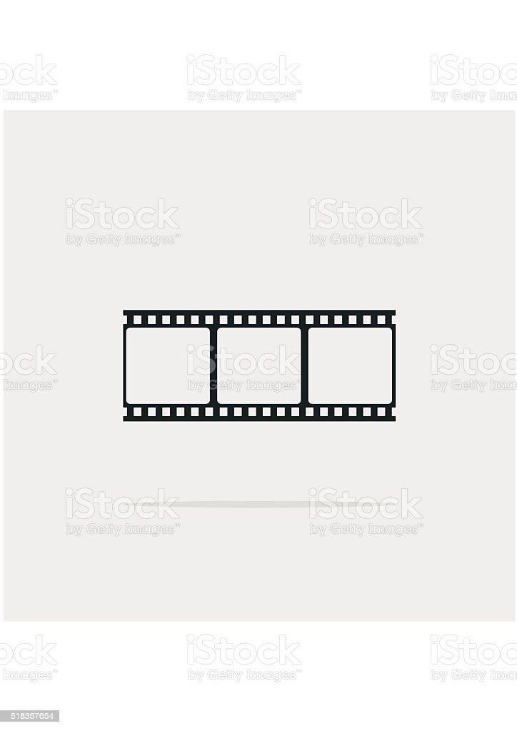 Film strip frame Icon flat, isolated on gray. Design element vector art illustration