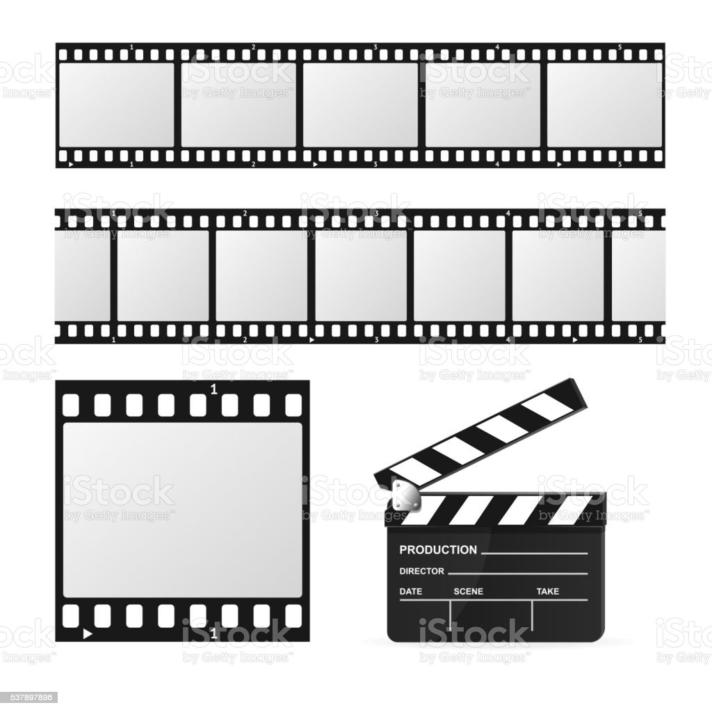 Film Strip Set and Chalkboard. Vector vector art illustration