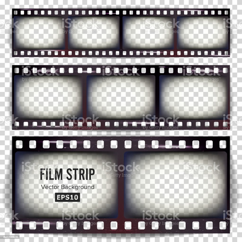 Film Strip Vector. Set Realistic Frame Strip Blank Scratched Isolated On Transparent Background vector art illustration