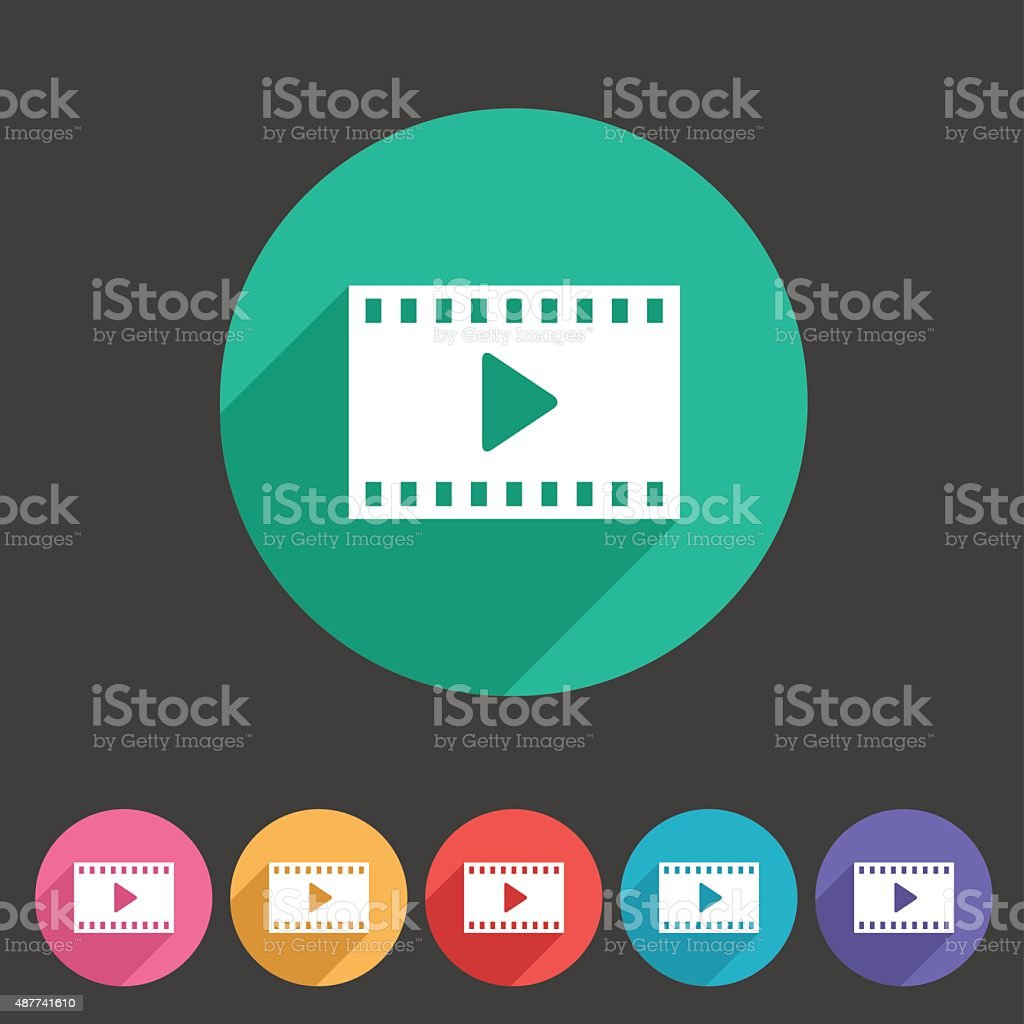 Film video cinema photo icon flat web sign symbol logo vector art illustration