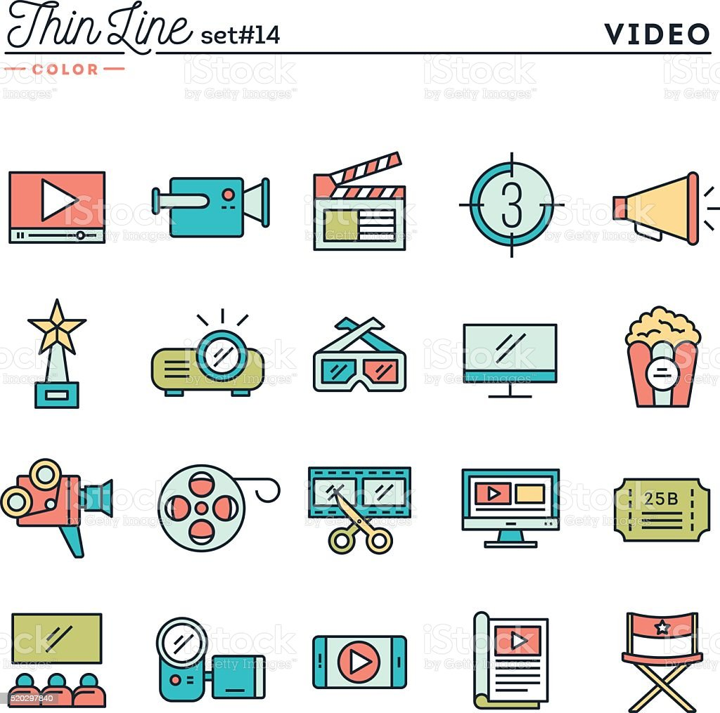 Film, video, shooting, editing and more, thin line color icons vector art illustration