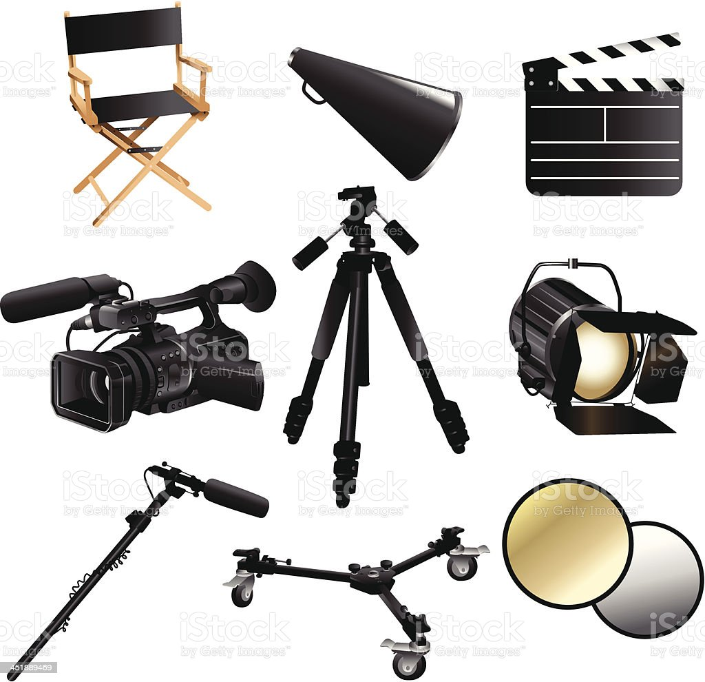 Filming movie icons vector art illustration