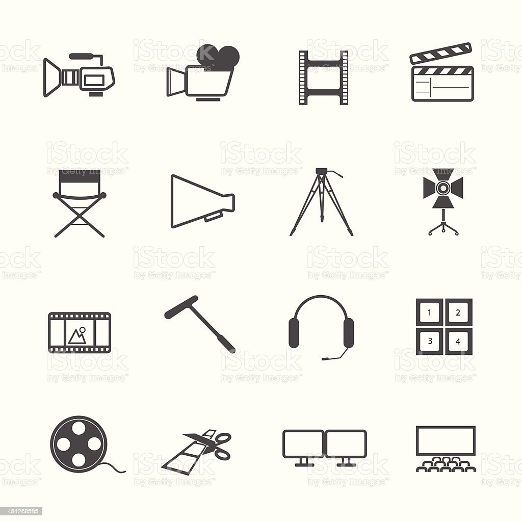 filming tool Icons movie vector vector art illustration