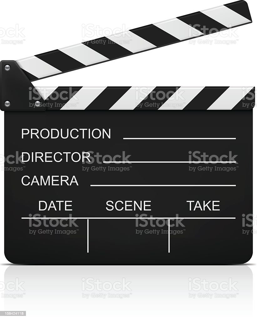 Filmmaker's clapboard against white background vector art illustration
