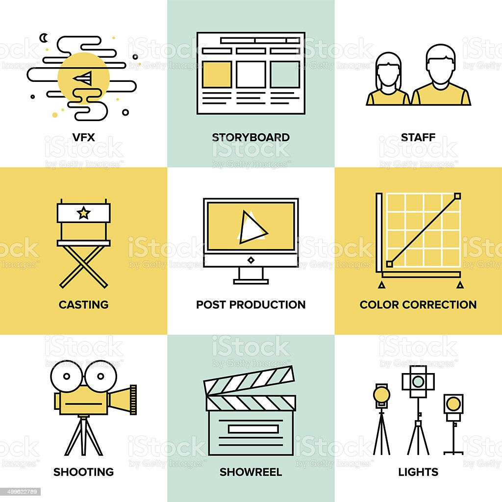 Films and post production flat icons vector art illustration