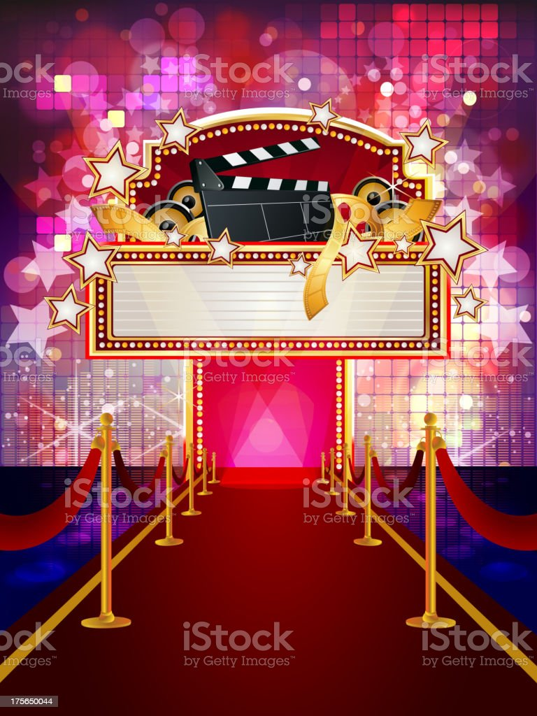 Filmy Marquee Display with Red Carpet royalty-free stock vector art