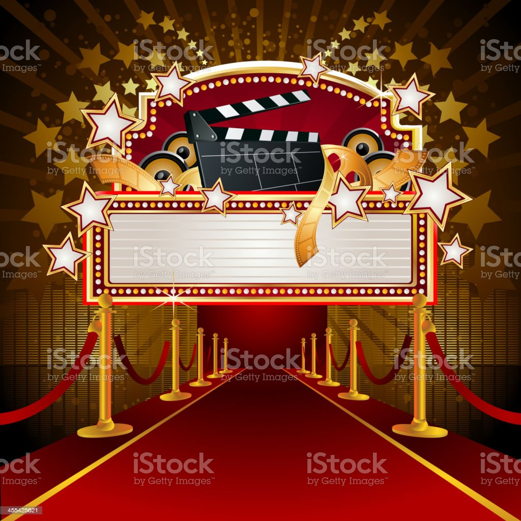 Filmy Marquee Display with RedCarpet vector art illustration