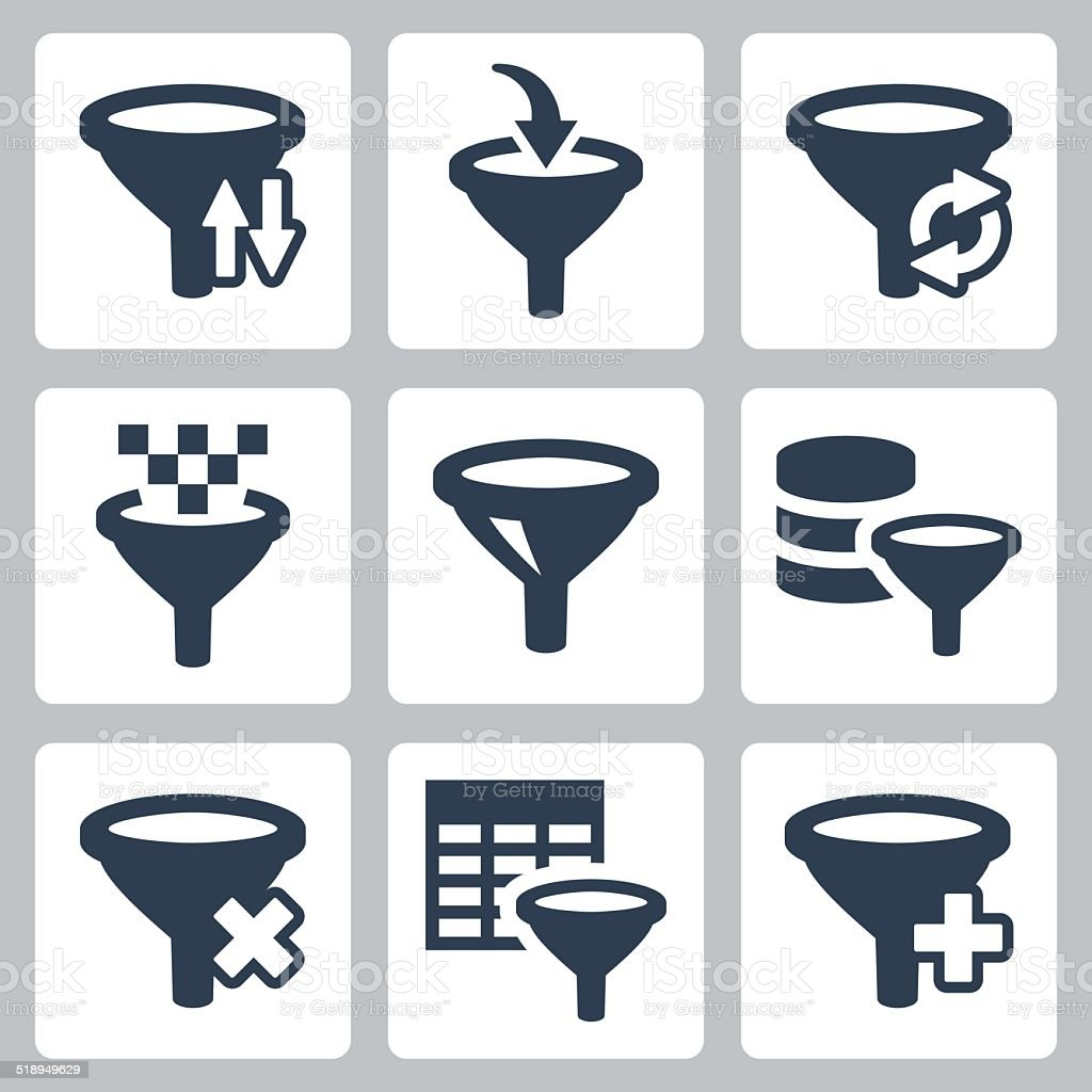 Filter related vector icons set vector art illustration