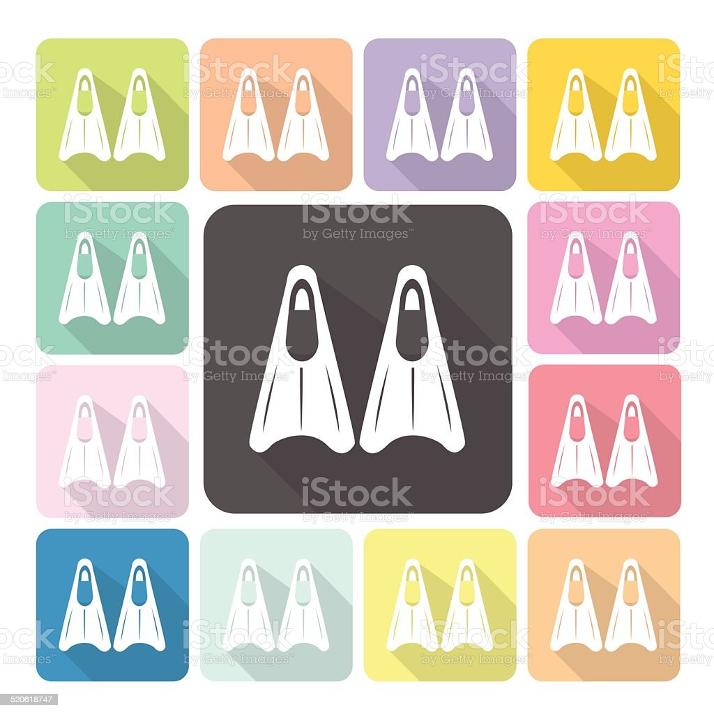 Fin Icon color set vector illustration vector art illustration