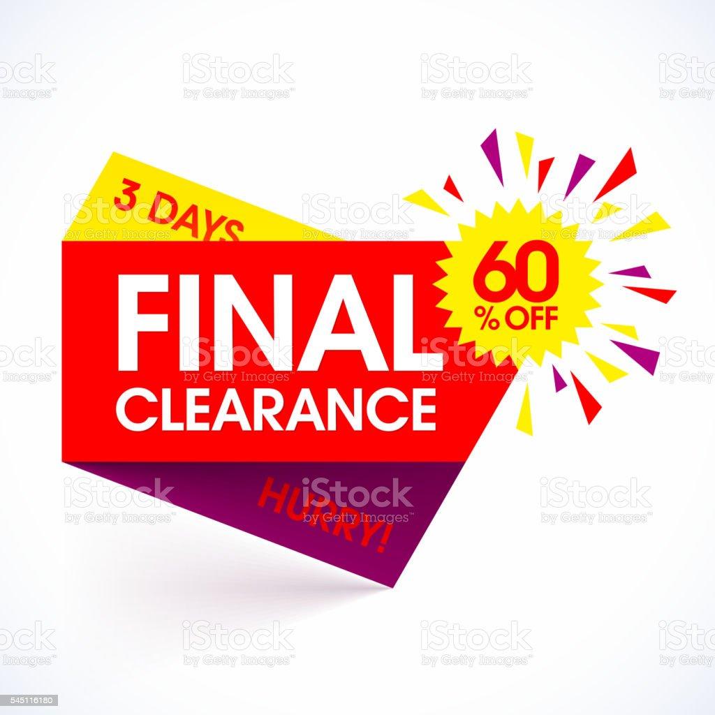Final Clearance sale paper banner vector art illustration
