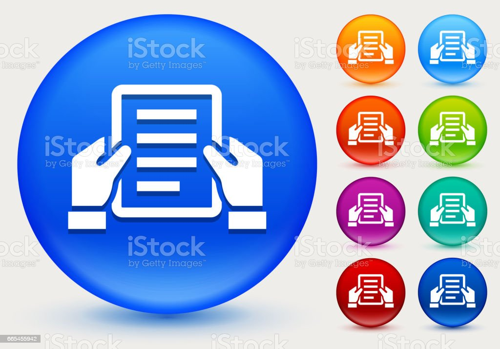 Final Document Icon on Shiny Color Circle Buttons vector art illustration