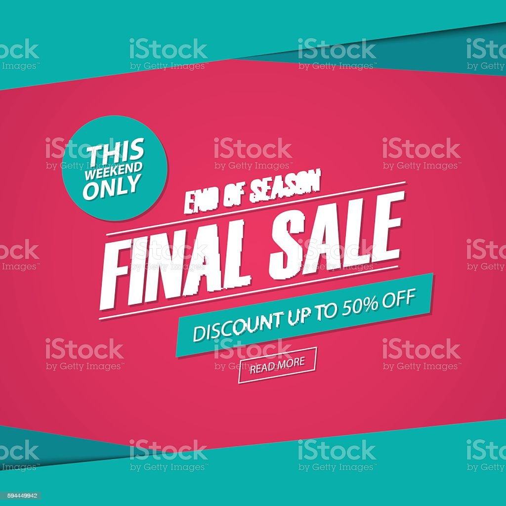 Final Sale. This weekend special offer banner, discount 50% off. vector art illustration