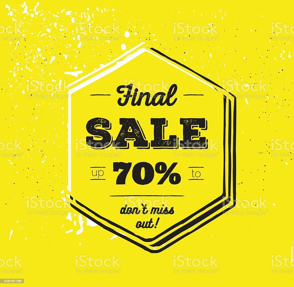 Final sale up to 70 % off. vector art illustration