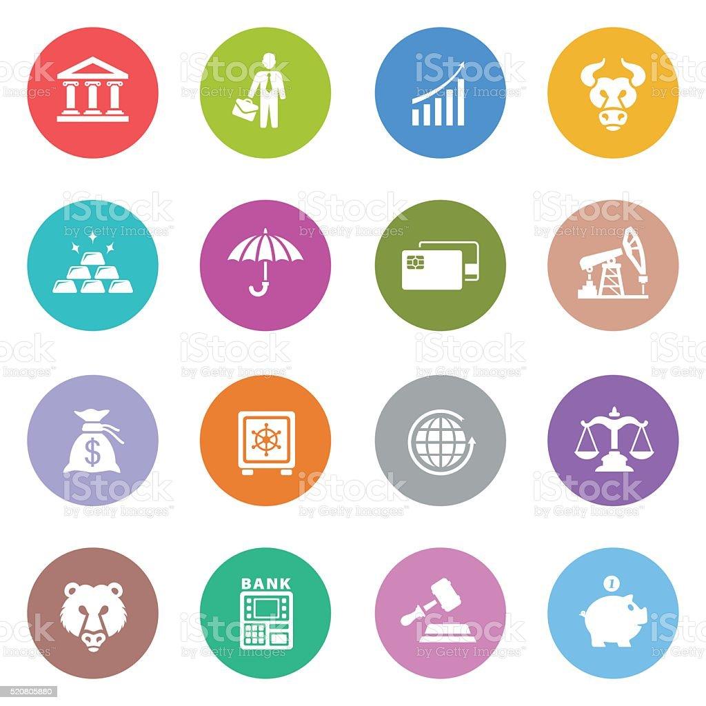 Finance and Banking icon set vector art illustration