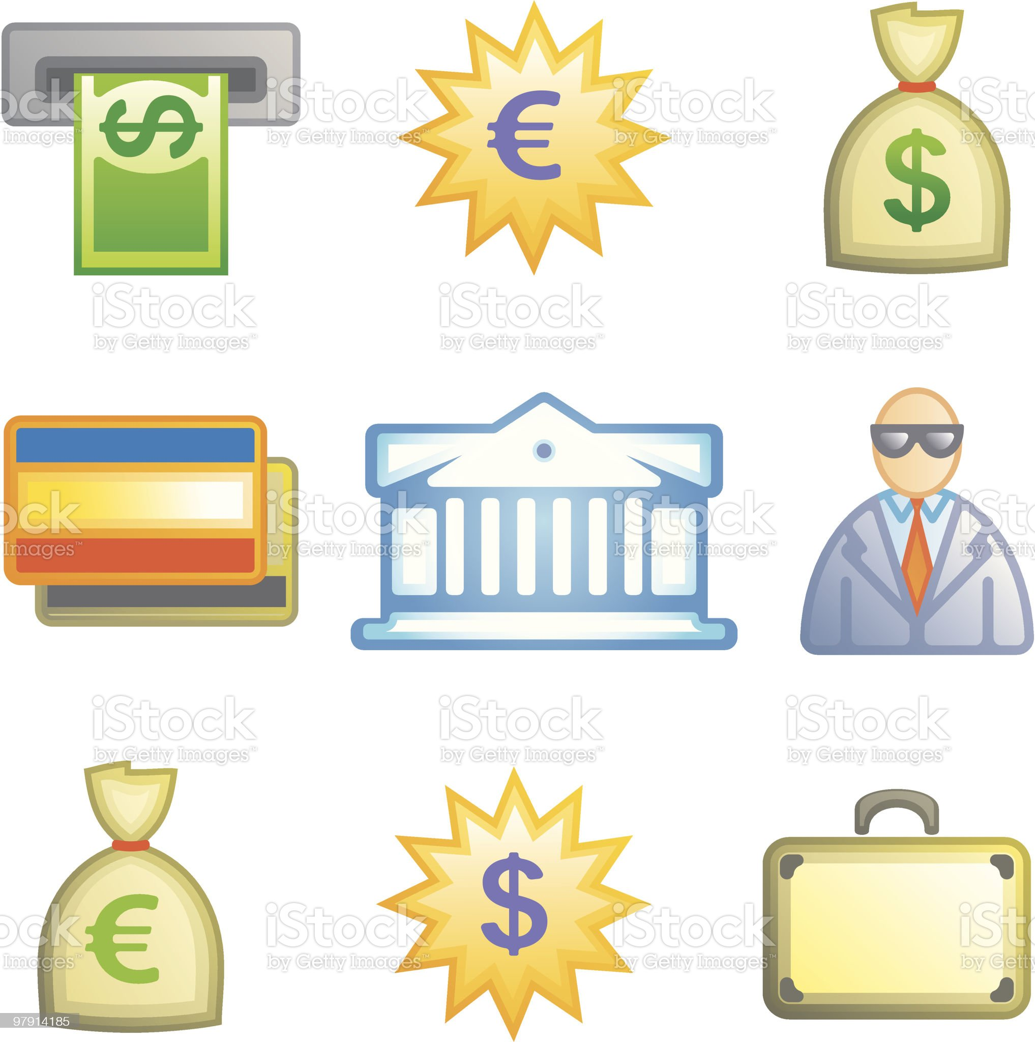 Finance and banking Icon Set royalty-free stock vector art