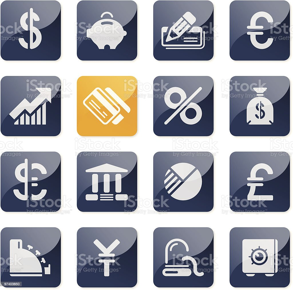 Finance and Banking icons | glossy series royalty-free stock vector art