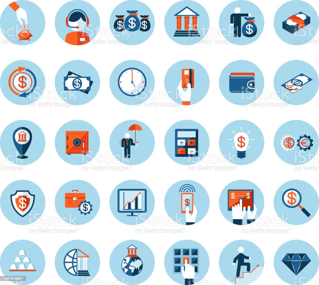 Finance and banking icons in colored flat style vector art illustration