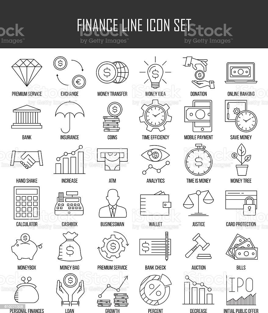 Finance and banking icons set vector art illustration