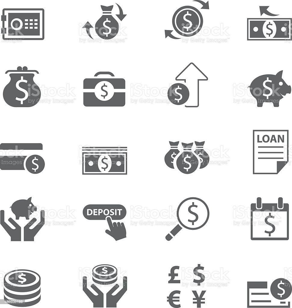 Finance and business icon set vector art illustration