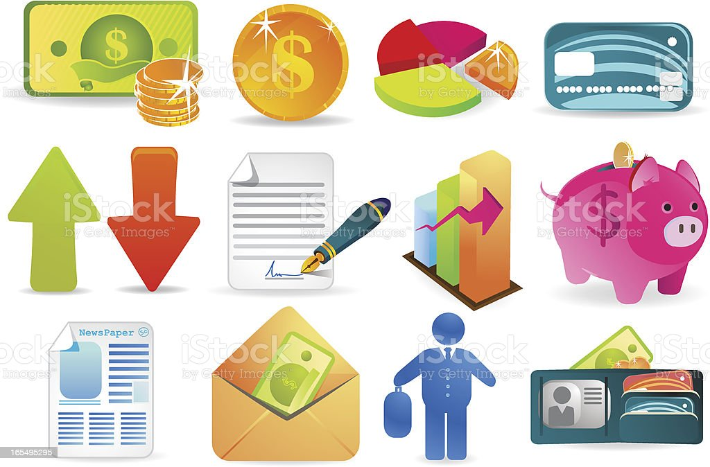 Finance and business icons royalty-free stock vector art