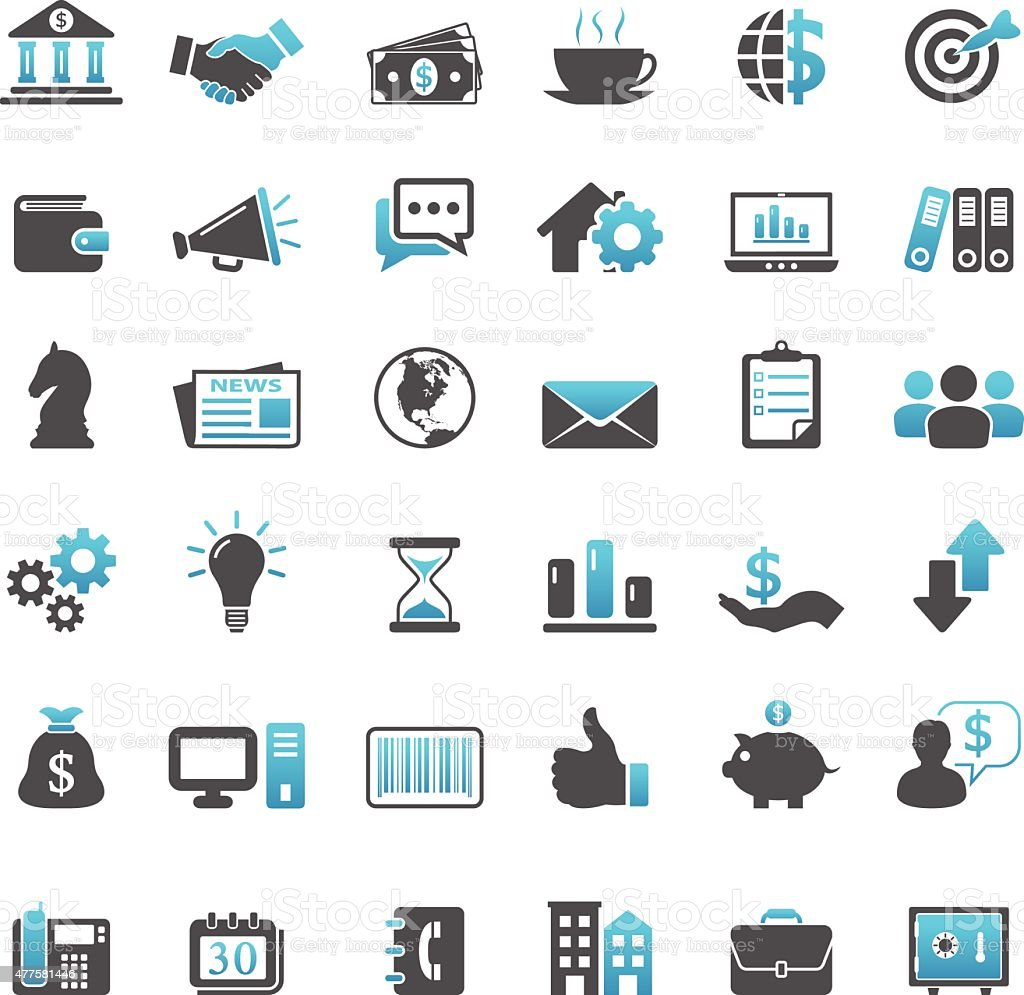 Finance And Business Icons vector art illustration