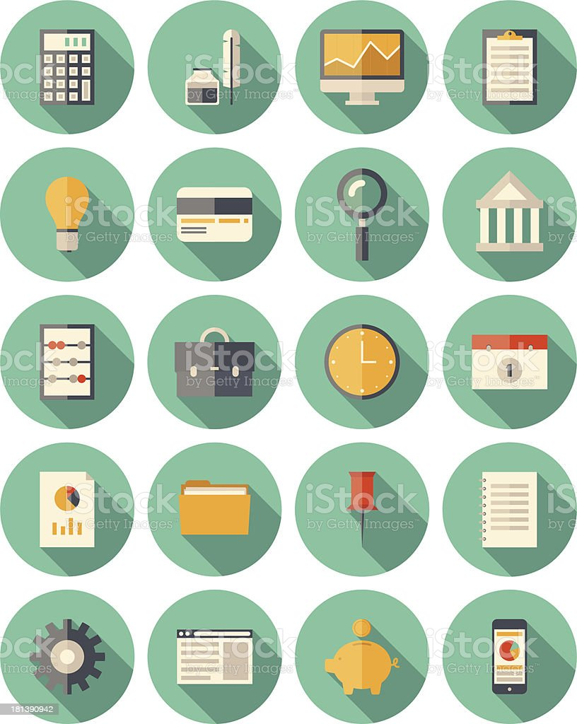 Finance and business modern icons set royalty-free stock vector art