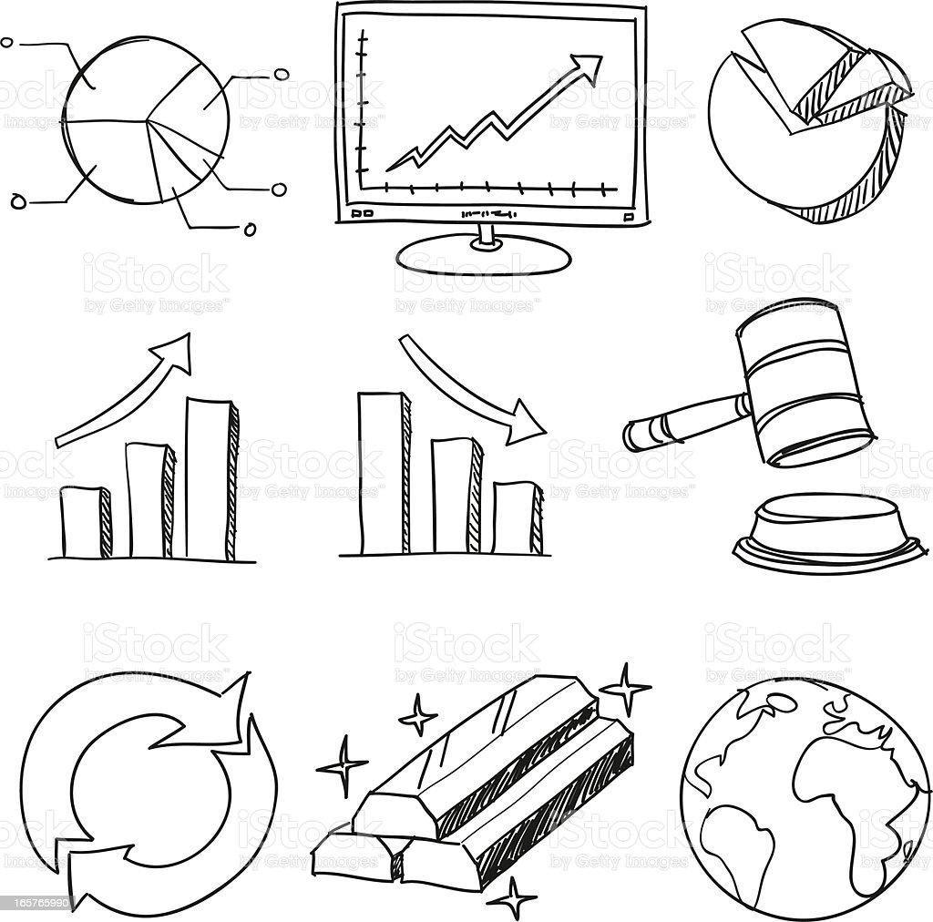 Finance and business symbol in black white vector art illustration